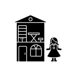 Dollhouse black glyph icon vector