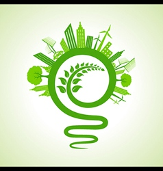 Eco cityscape with light-bulb and leaf icon vector