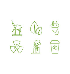 ecology and energy saving green line icons set vector image