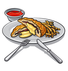 Escalope with fries vector