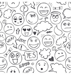 Faces seamless pattern emotions doodle vector