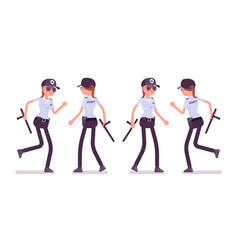Female security guard walking and running vector
