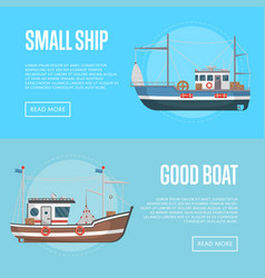 Fishing business flyers with small boats vector