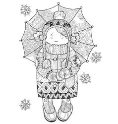 Girl under umbrella in winter hand drawn doodle vector