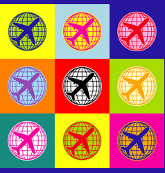 globe and plane travel sign pop-art style vector image