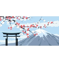 Graphic of Mount Fuji with Cherry Blossoms vector image