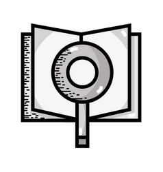 Grayscale book with magnifying glass and paper vector