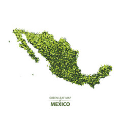 Green leaf map of mexico vector