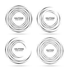 halftone circular vortex dotted circle frame set vector image