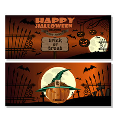 halloween card jack o lantern in witch hat vector image