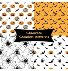 Halloween Seamless patterns Collection vector image vector image