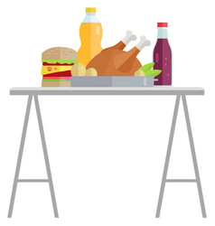 hamburger and meat fastfood and drink vector image