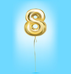 high quality image of gold balloon digit 8 eight vector image