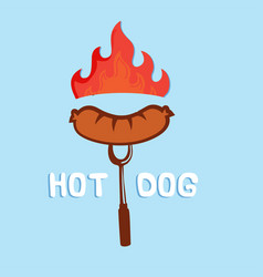hot dog sausage on fire fork background ima vector image