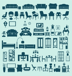 icons set interior collection-silhouettes vector image