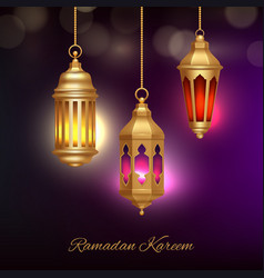 islamic lamps background heritage arabic lanterns vector image