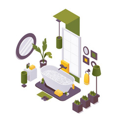 Isometric bathroom with a bathtub plumbing vector