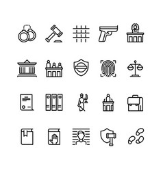 law and justice line icons court judge vector image
