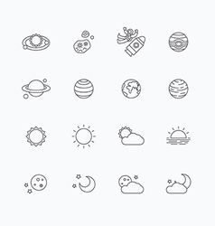 Linear web icons set - space sun and moon vector