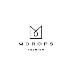 m letter drop logo icon line outline monoline vector image