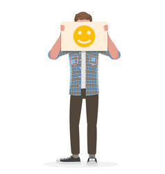 Man holding an happy emoji sign in front his vector