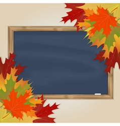 Maple leaves and grey chalkboard vector image