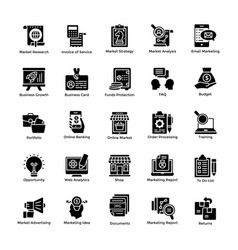 market and economy glyph icons vector image