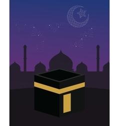 mecca kaaba islam beutiful sky stars crescent vector image