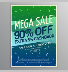 Mega sale brochure template in green and blue vector