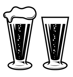 mug beer in engraving style design element for vector image