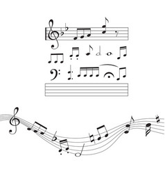 music notes musical design element set isolated vector image