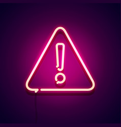 neon glowing warning sign attention label vector image