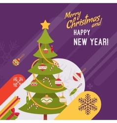 New Year and Christmas card template vector image