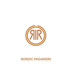 Nordic paganism concept 2 colored icon simple vector