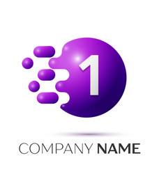 Number one splash logo purple dots and bubbles vector