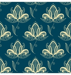 Oriental paisley beige flowers seamless pattern vector