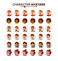 people avatar set man woman circle vector image