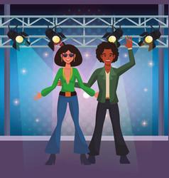 People dancing disco cartoons vector