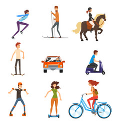 personal transportation vehicles set people on vector image