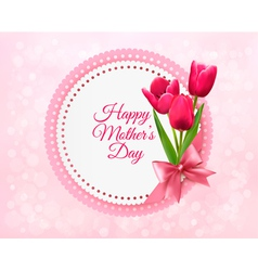 Pink tulips with Happy Mothers Day gift card vector image