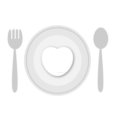 Plate with white heart vector image