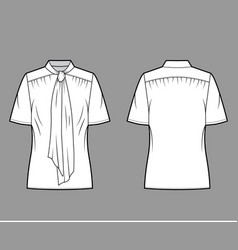 pussy-bow blouse technical fashion vector image