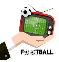 retro tv with soccer ball and stadium top view in vector image