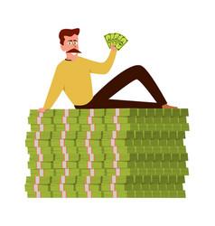 Rich guy happy wealthy businessman sitting vector