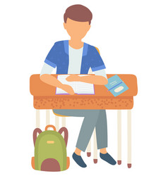 schoolboy doing homework assignments at lesson vector image