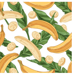 seamless pattern with fresh bananas and green vector image