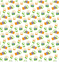 Seamless photo cameras pattern isolated on white vector image