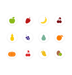 set fruit healthy food collection flat style vector image