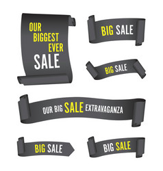 set of black sale banners vector image