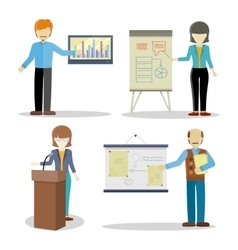 Set of Business Coaches Characters in Flat Design vector